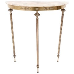 Brass Console Table with a Demilune Portuguese Pink Marble Top, Italy, 1950s