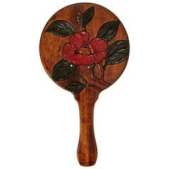 Chinese Handmade Rosewood Round Mirror Carved Flower Box
