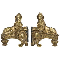 Pair of Gilt Bronze Chenets after the Model by Guillaume de Grof, circa 1890