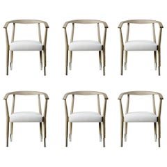 Set of 6 Dining Armchairs in White Oak and Leather with Stainless Steel Accents