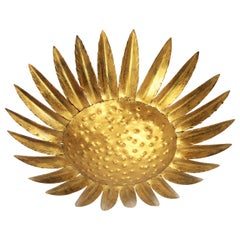 Sunflower Sunburst Gilt Iron Ceiling Light Fixture or Wall Light, Spain, 1950s