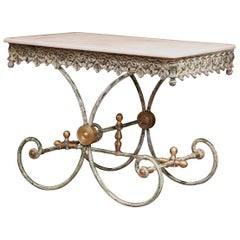 Painted French Iron Butcher or Pastry Table with Marble Top and Brass Finials