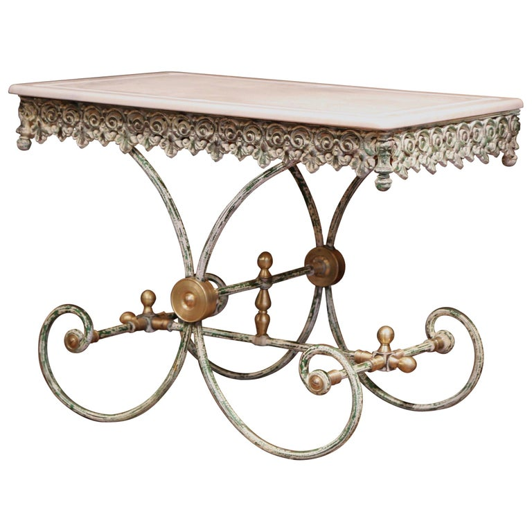 Painted French Iron Butcher or Pastry Table with Marble Top and Brass Finials For Sale