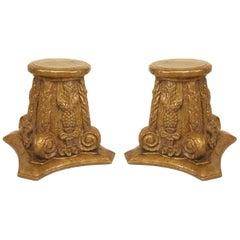 Paar Französische Art-Deco Korinthische Säulenform Taboret Beistelltische