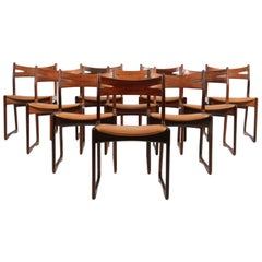 Danish Cabinetmaker, Set of Ten Rosewood Dining Chairs Silk Aniline Leather
