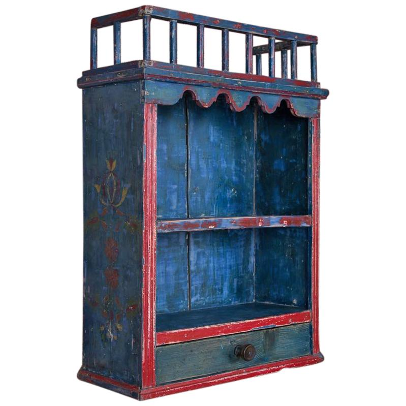 Incroyable Antique Folk Art Original Blue Painted Hanging Wall Cabinet