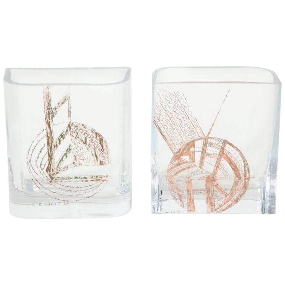 Pair of Etched Glass Vases
