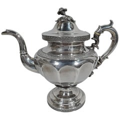 Large and Pretty Antique Coin Silver Teapot by New York Maker Forbes
