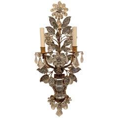 Wonderful Pair French Baguès Rock Crystal Gold Gilt Flower Leaf Urn Form Sconces