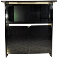 Glossy Black Lacquer Highboard with Vitrine by Luigi Sormani, Italy, 1985