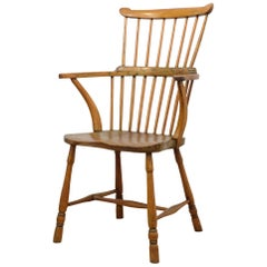 18th Century English Elm and Beech Provincial Comb Back Windsor Chair