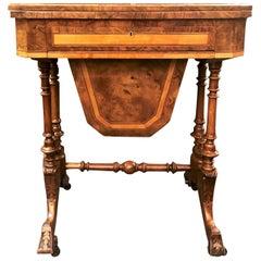 Antique English Burled Walnut Games Table, Exotic Wood Inlay, circa 1880-1890