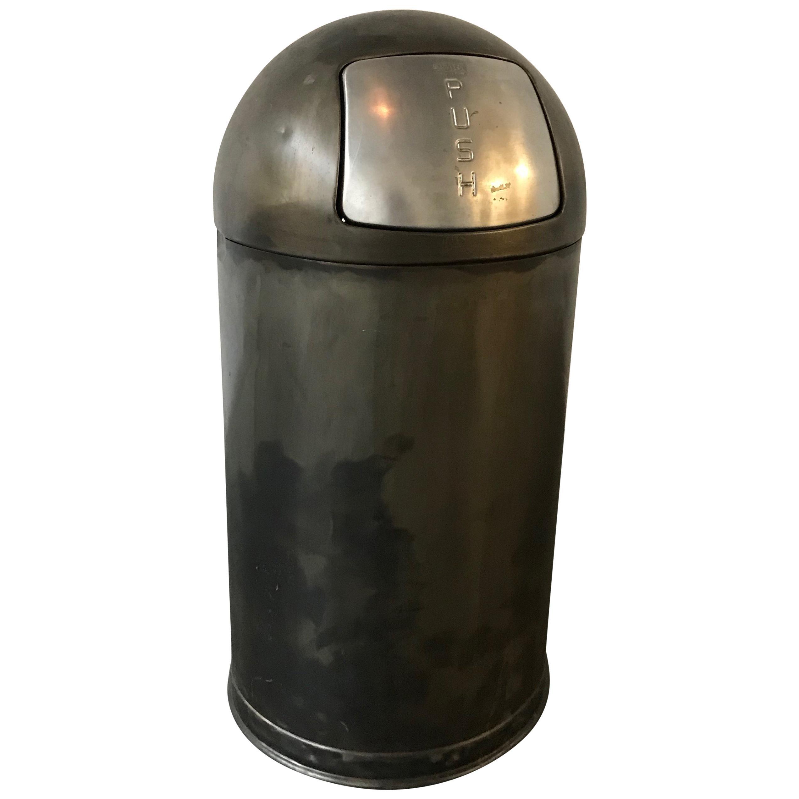 Industrial Brushed Gunmetal Steel Bullet Trash Can