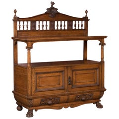 Antique Irish Carved Oak Sideboard Buffet Cabinet with Paw Feet