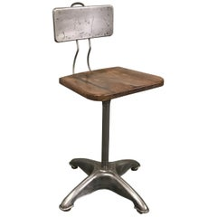 Industrial Brushed Steel Adjustable Drafting Stool
