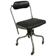 Industrial Leather Swivel Desk Chair by Fritz Cross