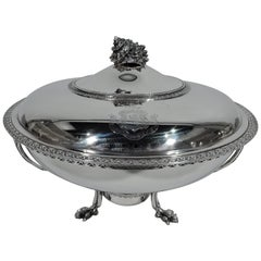 Early Tiffany Sterling Silver Vegetable Dish on Stand with Conch Shell