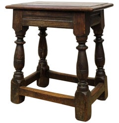Charles I English Oak Joint Stool, 17th Century, Side Table