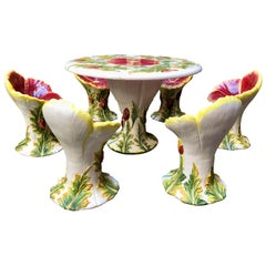 Estate Italian Hand-Painted Terracotta 11-Piece Garden Set