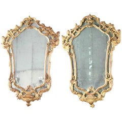 Pair of 18th Century Venetian Giltwood Mirrors with Original Glass