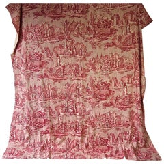Joan of Arc Red Cotton Toile de Jouy Panel, French, 19th Century