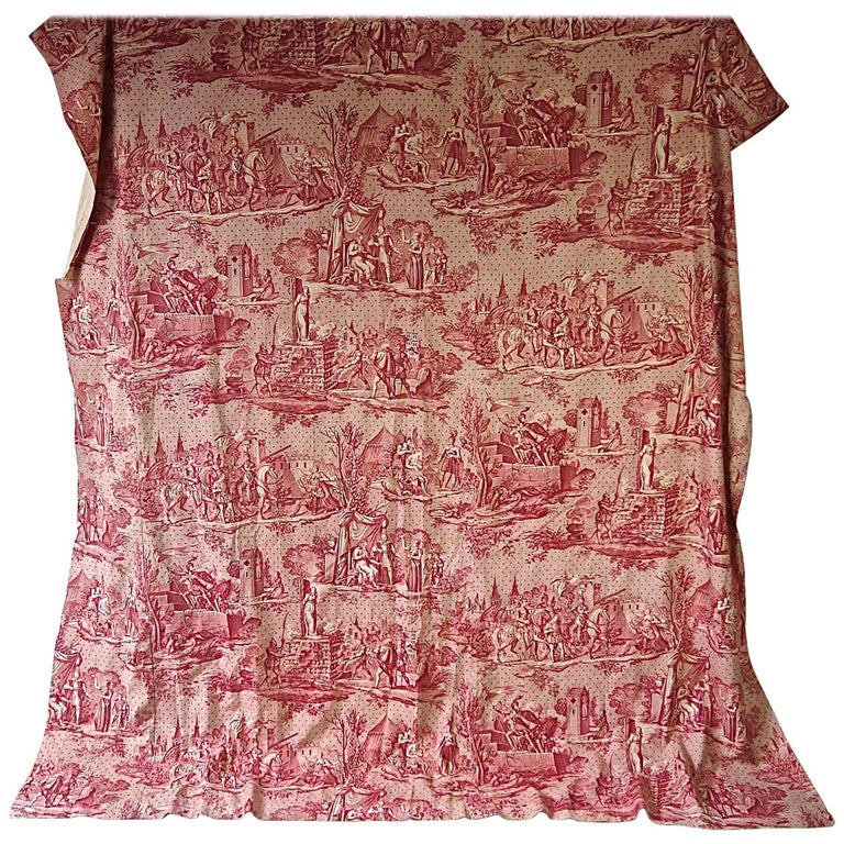 Joan of Arc Red Cotton Toile de Jouy Panel, French, 19th Century For Sale
