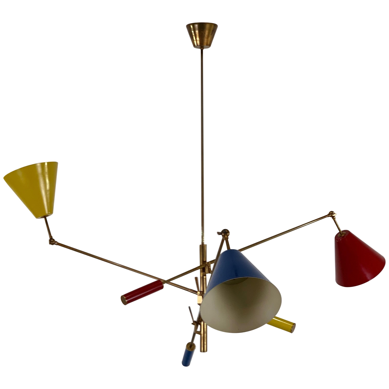 "Arredoluce ""Triennale"" Three-Arm Brass Chandelier, Italy, 1950s"