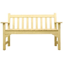 Teak Garden Bench with a Well Weathered Yellow Painted Finish, Mid-20th Century
