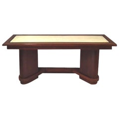 Vellum Top Console Table, France, Midcentury