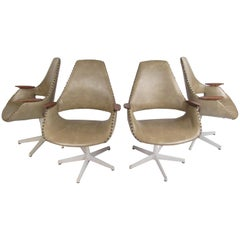 Set of Four Midcentury Swivel Armchairs