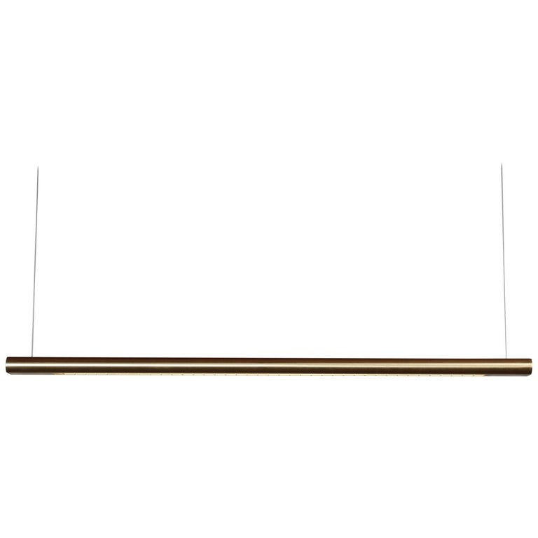 Brushed Brass Linear Light, Modern and Minimal Horizontal Yakata Pendant Light For Sale