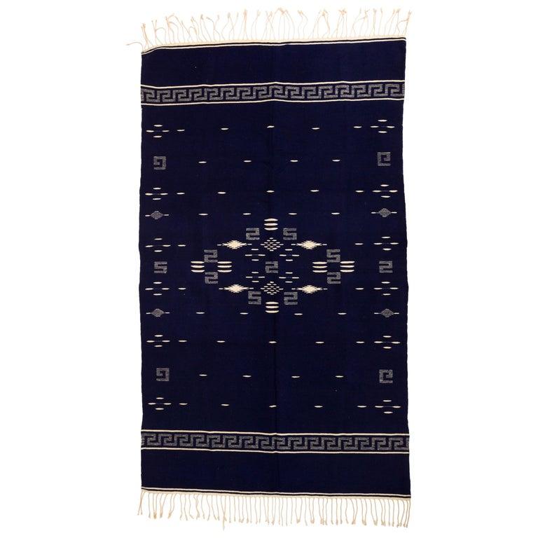 Indigo Texcoco Mexican Wool Serape Blanket For Sale