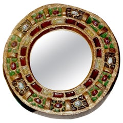 Round Jeweled Mirror by Guerin, France, 1960s