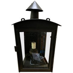 Single Painted Wall Mount Tole Lantern, One Light, circa 1910
