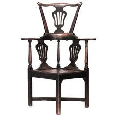 English Country Provincial High Back Corner Armchair