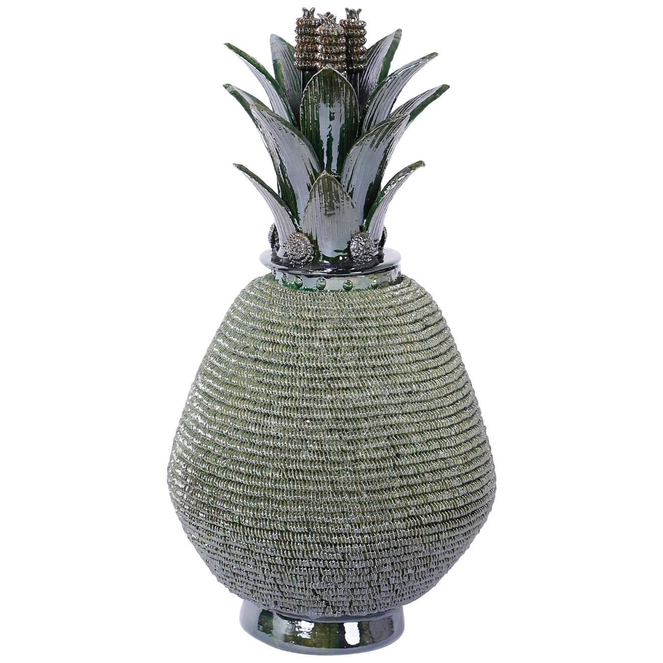 Pottery or Glazed Terracotta Lidded Pineapple Jar or Urn