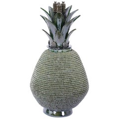 Pottery or Glazed Terracotta Lidded Pineapple Jar or Urn