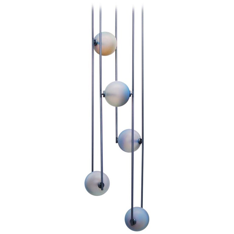 Customizable Equalizer Collection Five-Piece Radial Chandelier For Sale