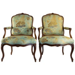 Stamped by Louis Delanois Louis XV Period Pair of Large Armchairs, circa 1765