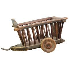 Folk Art Pine Toy Cart with Original Paint, Late 19th Century