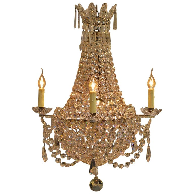 """Antique French Empire """"sac de perles"""" Crystal Lustre or Chandelier 1"""