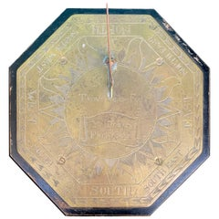 "19th Century English Brass Sundial, Engraved ""Made by Thomas Callow"""