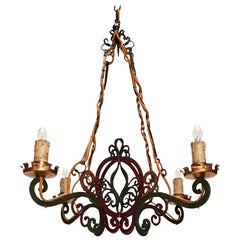 Italian Painted Wrought Iron Four Lights Chandelier