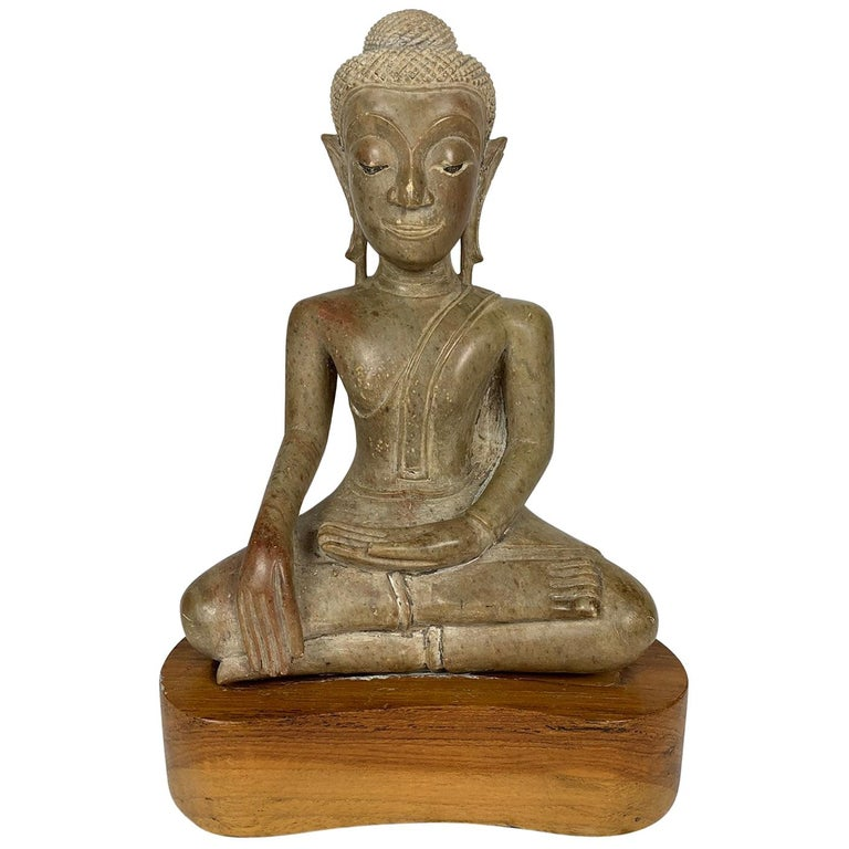 16th or 17th Century Northern Thai Carved Stone Buddha, Phayo For Sale