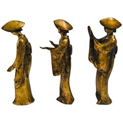 Mid-Century Modern Bronze Figurines Trio of Japanese Women Awa Odori Dancers
