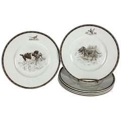 Set of Six Wedgwood Queen's Ware American Sporting Dog Plates