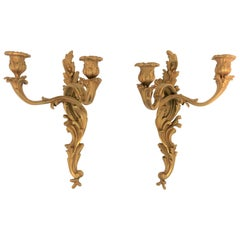Pair of Doré Bronze Gold Gilt Rococo Style Candlestick Wall Sconces