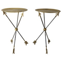 Maison Jansen Directoire Arrow Sidetables with Original Brass Trays, Pair