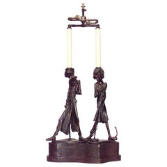 English Victorian Metal Two Figures Table Lamp