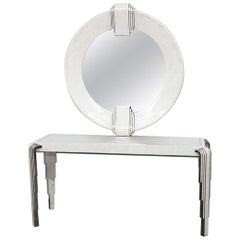 Tavola by Oggetti Art Deco Style Tessellated Console and Mirror